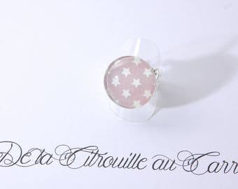 Ring cabochon stars, sky blue and taupe