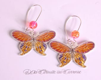 Butterfly earrings Orange, yellow and gray