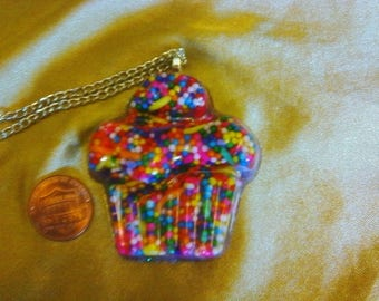 Kawaii sprinkle cupcake resin necklace