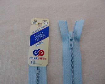 Zip closure, metal, azure blue (Z11 501)