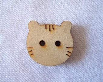 Button shaped wood burned cat (BB-258)