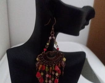 Earrings with multicolor beads