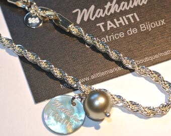 Pearl bracelet black with Tahiti on silver