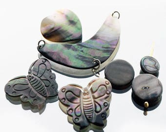 Iridescent shell spacer charms. Mother of Pearl Butterfly