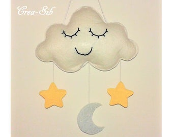 """Suspension """"Cloud, Star and Moon"""" white"""
