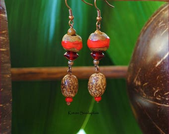 Red dangling nature earrings