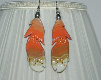 """Earrings 3 tones """"Feathers in the wind"""""""