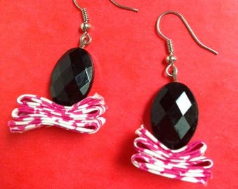 pair of earrings fabric liberty pink and black faceted bead