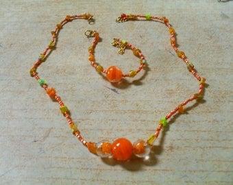 set (necklace and bracelet) modern, colorful, original (orange)