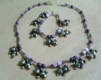 "colorful, original, cute ""Pooh"" (necklace and bracelet) set (purple)"
