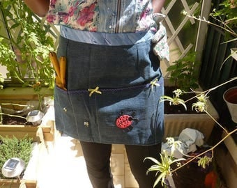 Apron gardener of denim and cotton 1st quality appliqués with many pockets