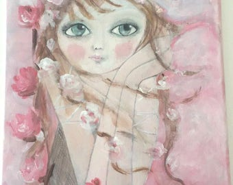 """Romantic painting """"Pink Lady and flowers"""""""