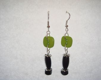 Black and green wooden beads earrings
