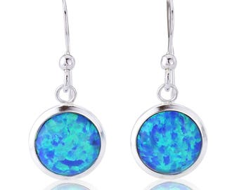Silver and 10mm Blue Opal Drop Earring