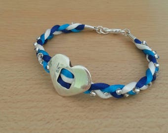 Heart bracelet Silver Blue, white and turquoise satin cord and beaded