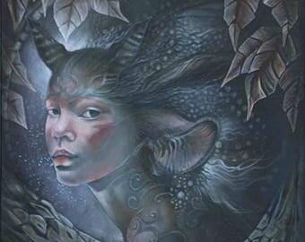 Oil painting, oil, fantastic, unique, art, figurative, portrait, fairy, wildlife, AtelierduFaune
