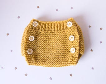 To order!  Bloomers baby mustard yellow wool, wooden buttons, size 1 month