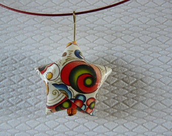 origami star paper multicolor necklace