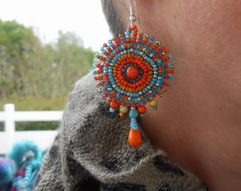 """Embroidered """"Jessica"""" beaded earrings"""