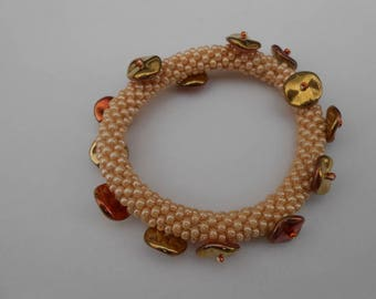 "Gold and bronze seed beads ""Clara"" bracelet"