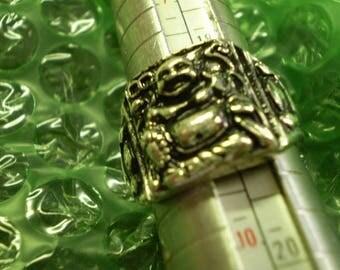 TIBETAN SILVER BUDDHA Ring Size 9 Stainless Steel
