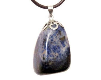 Pendant stone wrapped in silver plated - sodalite