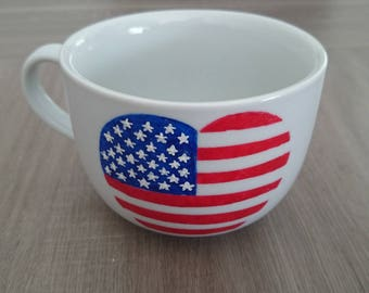Handpainted heart U.S.A. Cup