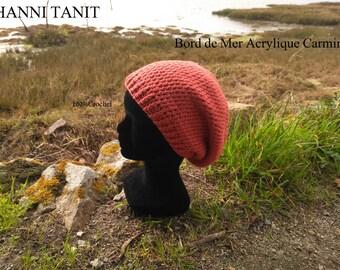 """Bonnet """"Bord de Mer"""" Acrylique Couleur Carmin/Rouge , Tour de tête 56cm XS/12 ans"""