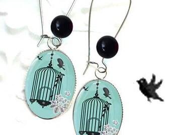 blue green bird cage earrings