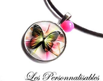 Fuchsia image under a glass Butterfly NECKLACE