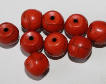 Stone beads, Brown, 8mm, set of 10