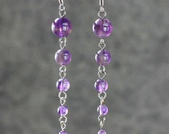 Amethyst and 925 Silver hook earrings