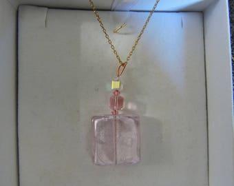 Pretty pale pink, square pendant