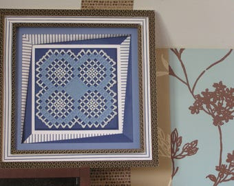 Blue and white Hardanger embroidery chart