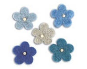 Embellishments flowers 100% wool (blue)