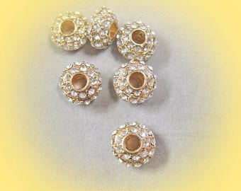"Spacer flat round with Rhinestone ""PANDORA"" golden rose beads"