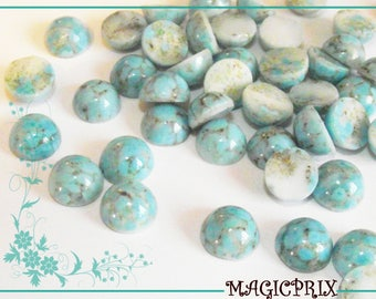 20 glass IMITATION marble m155 natural TURQUOISE CABOCHONS