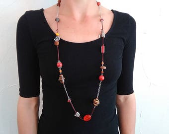 Necklace Orange Brown coconut wood beads