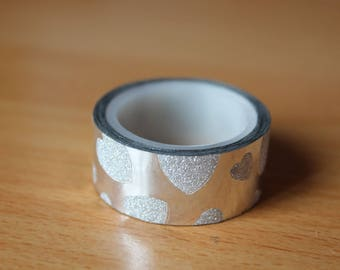 roll of masking tape 3 m silver heart