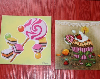 set of two postcards square candy goodies