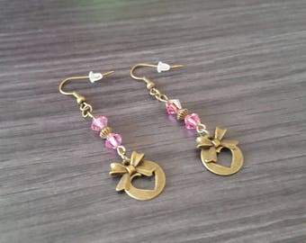 Round pink heart Earrings