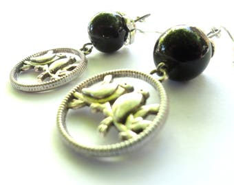 Retro vintage earrings romantic duo birds