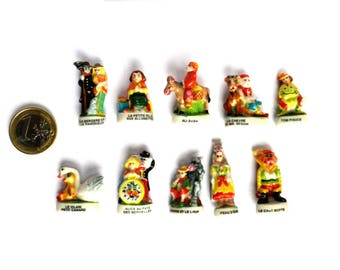10 beans characters of tales and children stories miniature porcelain, gift idea for display, Collection tell a story