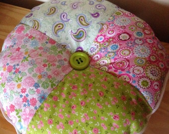 Round cushion patchwork style