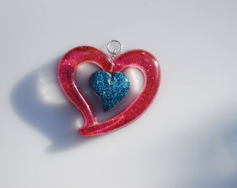 Pink glitter resin heart pendant glitter 54 mm