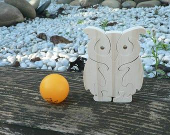 """OWL"" animal puzzle-cut wood"