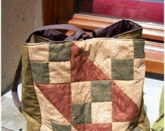 Patchwork cube pattern of Jacob's ladder shape bag