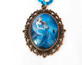 Bronze necklace with cabochon 30 x 40 mm and a turquoise blue