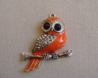 Orange wings rhinestone 4 * 5 cm black eyes OWL pendant