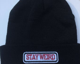 Black Beanie Stay Weird Comes in Two Colors